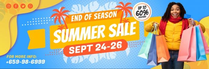 Blue Shopping Sale 2' x 6' Banner Template