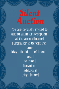 Blue Silent Auction Dinner Reception Fundraiser Invitation