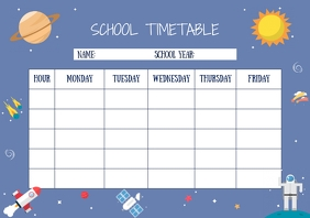 Blue Sky Illustration School Timetable A4 template