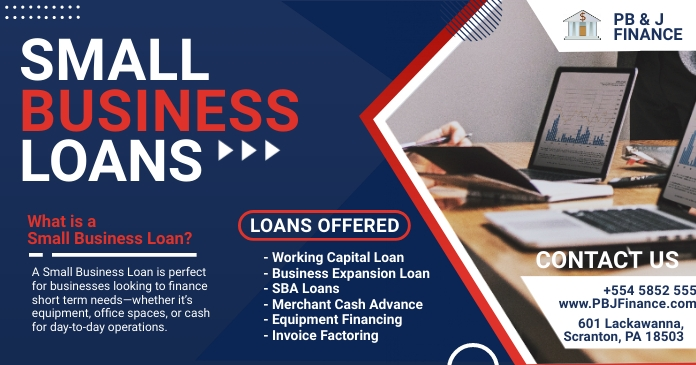 Blue Small Business Loan Firm Facebook Post T template