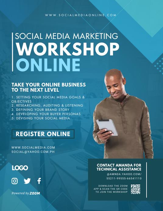 Blue Social Media Marketing Workshop Flyer template