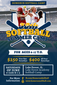 Blue Softball Summer Camp Flyer Template Affiche