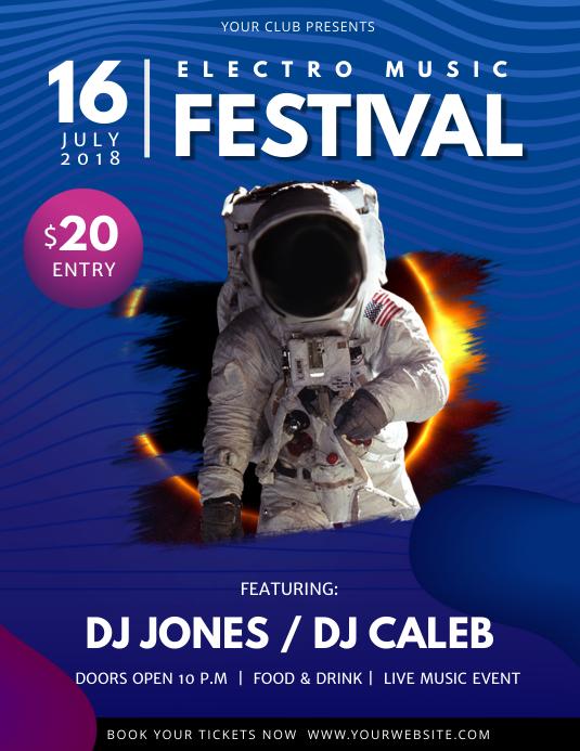 Blue Space Themed Music Festival Flyer