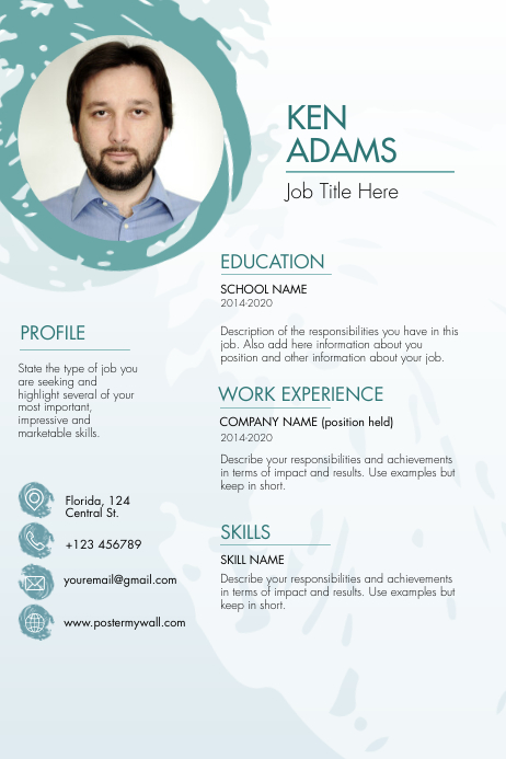 Blue Sphere Resume Template Affiche