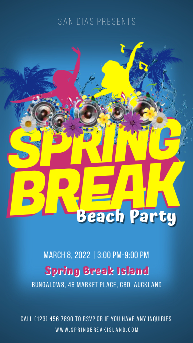 Blue spring break beach party Instagram story Instagram-verhaal template