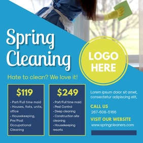 Blue Spring Cleaner Instagram Ad Square (1:1) template