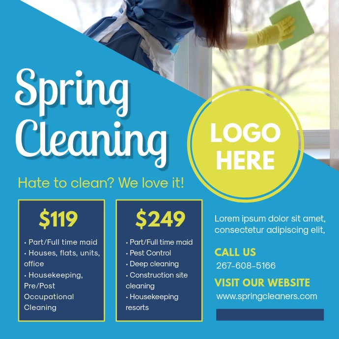 Blue Spring Cleaner Instagram Ad Kwadrat (1:1) template