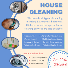 Blue Spring Cleaning Service Advertisement Sample