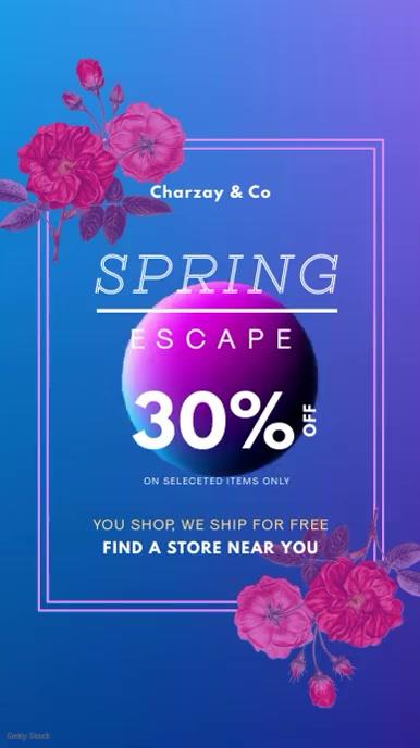 Blue Spring Party Rave Invitation Digital Display