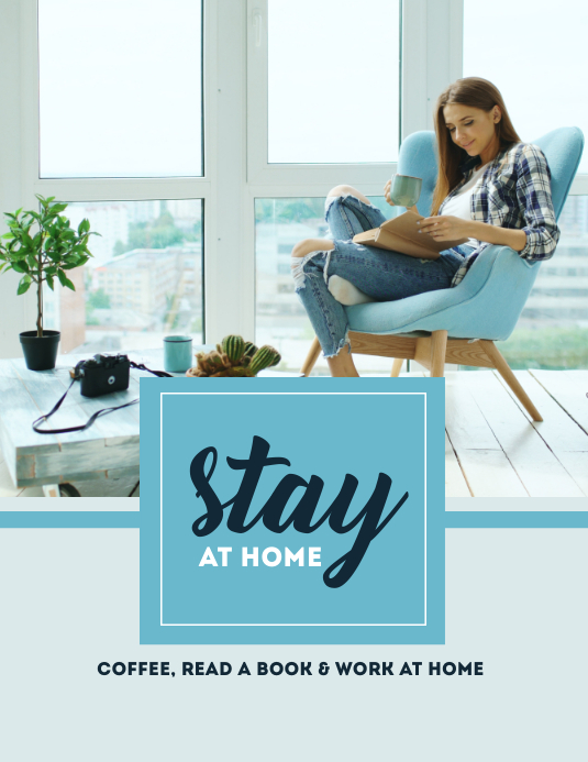Blue Stay at Home Templates Flyer (US Letter)