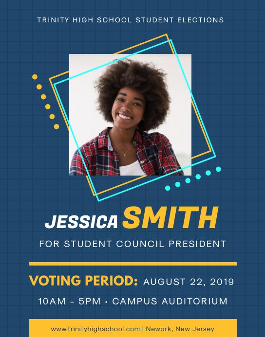Blue Student Council Election Flyer Plakat/vægtavle template
