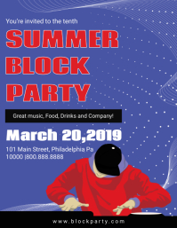 Blue Summer Block Party Invitation Flyer