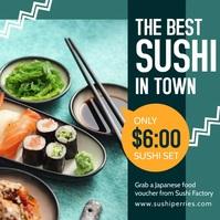Blue sushi instagram post Cuadrado (1:1) template