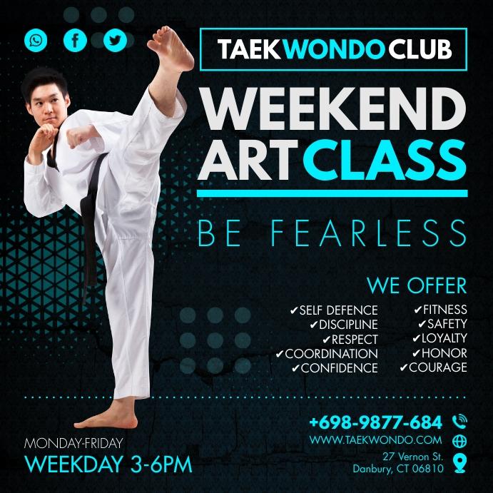 Blue Taekwondo Self Defense Instagram Post Template