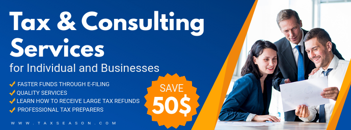 Blue Tax Consulting Services Banner Ad Facebook-coverfoto template