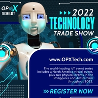 Blue Technology Trade Show Instagram Post Tem Instagram-opslag template