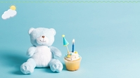 Blue Teddy Bear Birthday Zoom Background Temp 数字显示屏 (16:9) template