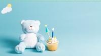 Blue Teddy Bear Birthday Zoom Background Temp 数字显示屏 (16:9) template