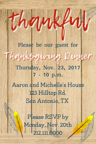 Blue Thankful Invite