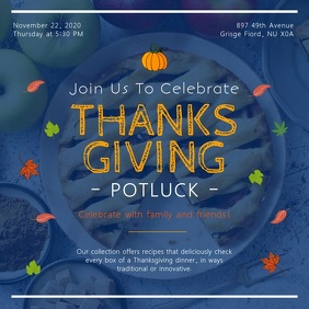 Blue Thanksgiving Potluck Invitation Square V