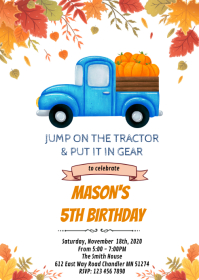 Blue tractor pumpkin fall party invitation A6 template