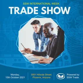 Blue Trade Show Social Media Invite Instagram Post template