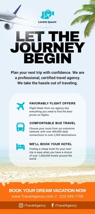 Blue Travel Rack Card template