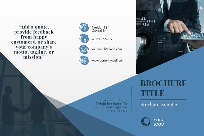 Blue Trifold Brochure Plakat template