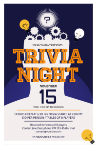 Blue Trivia Night Poster template