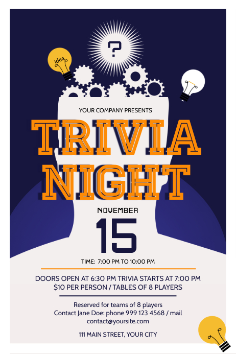 Blue Trivia Night Poster