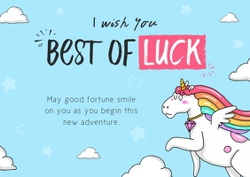 Blue Unicorn Themed Good Luck Card