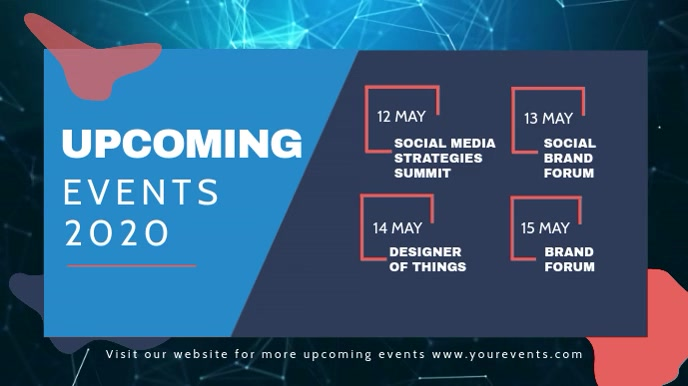 Blue Upcoming Events Landscape Digital Displa template