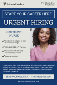 Blue Urgent Nurse Job Poster