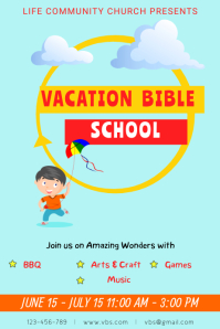 Blue Vacation Bible School Template