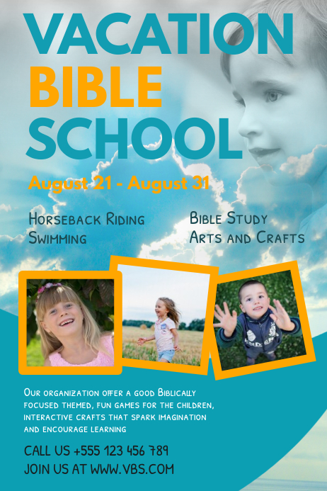 Blue Vacation Bible School Poster Template