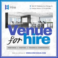 Blue Venue for Hire Ad Instagram Image template