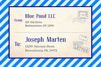 Blue Vintage Post Card Shipping Label Templat Étiquette template