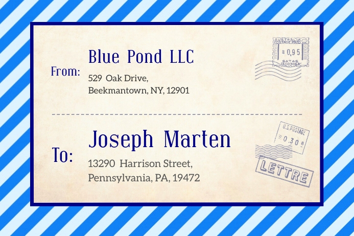 Blue Vintage Post Card Shipping Label Templat Rótulo template
