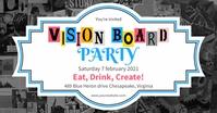 Blue Vision board party invite Gambar Bersama Facebook template