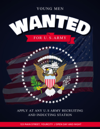 Blue Wanted Army Recruitment Flyer