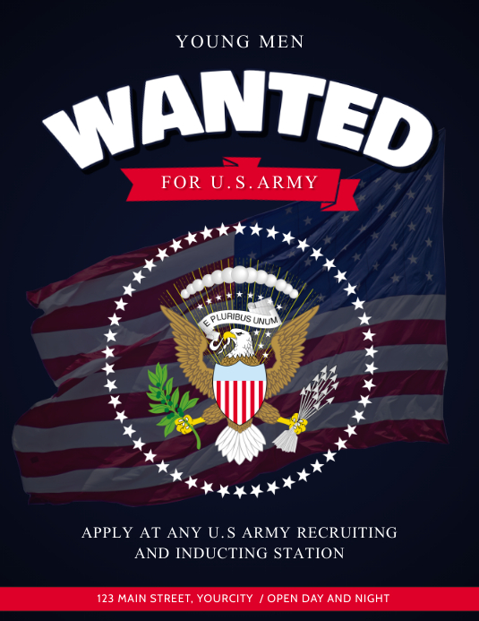 Blue Wanted Army Recruitment Flyer Template Postermywall