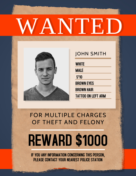 Blue Wanted Person Flyer template