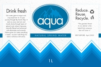 Blue Water Bottle Label Etykieta template