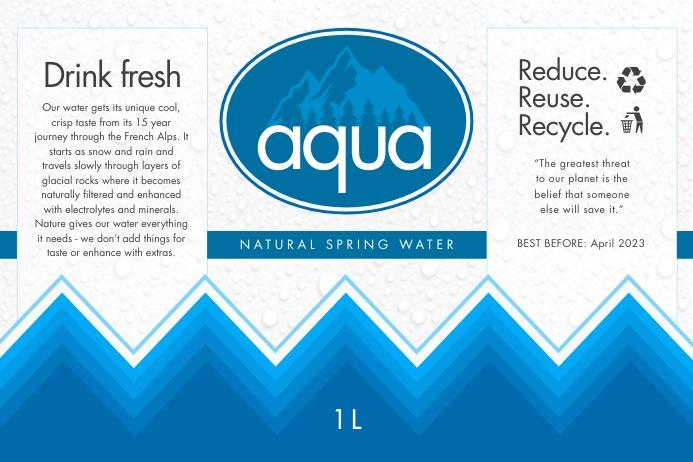 Blue Water Bottle Label Rótulo template