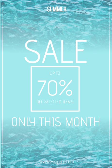 blue water summer sale poster template