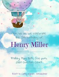 Blue Watercolor Themed Birthday Invitation Fl