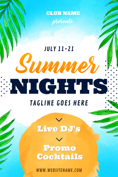 Blue Watercolor Themed Summer Nights Event Po