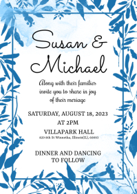 Blue Watercolor Wedding Invitation Card A5 template