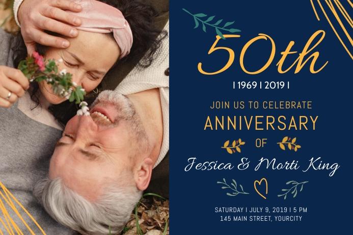 Blue Wedding Anniversary Landscape Poster template