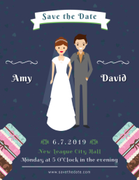 Blue Wedding Invitation Save the Date Flyer